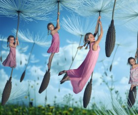 With dandelion soaring blue sky kids Stock Photo