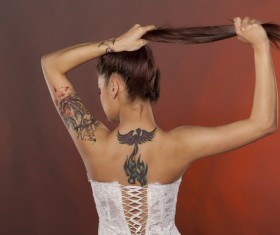 Woman show back tattoo HD picture