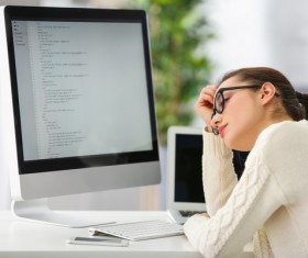 Woman thinking about problems Stock Photo