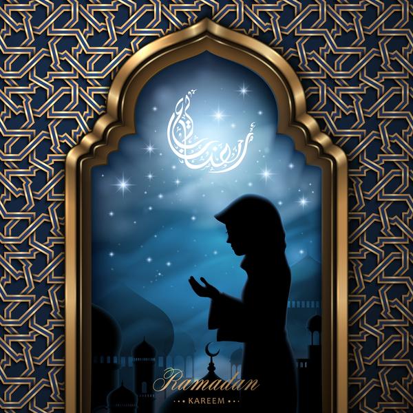 Woman with ramadan jareem background vector