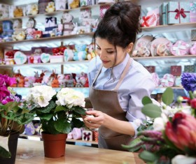 Woman working in florist Stock Photo 02
