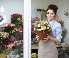 Woman working in florist Stock Photo 04