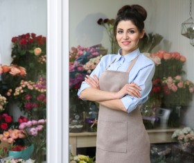 Woman working in florist Stock Photo 05