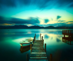 Wooden pier with boat calm lake HD picture