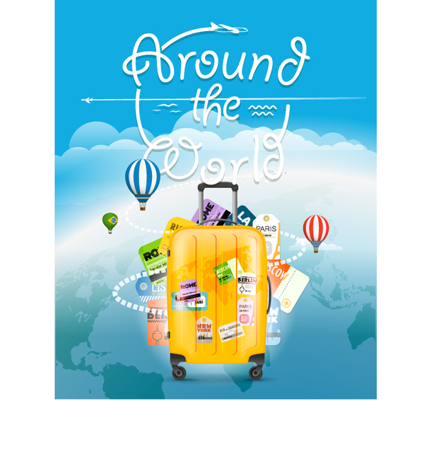 World travel design vector with suitcase