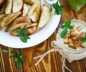 Yogurt and pears Stock Photo