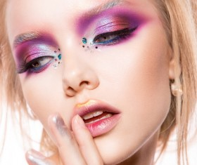 Young female model eye makeup HD picture 04