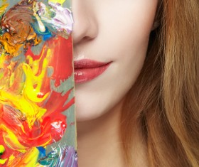 Young female painter with palette HD picture