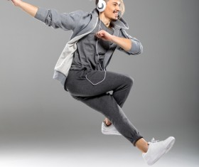 Young people who dance with music Stock Photo