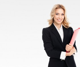 Young woman holding a folder businessman Stock Photo