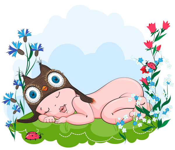 baby sleeps in a hat owls on grass vector