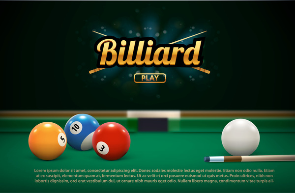 billiard play theme background vectors 01