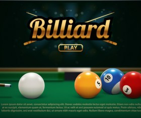 billiard play theme background vectors 02