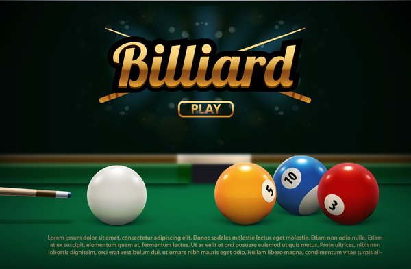billiard play theme background vectors 02