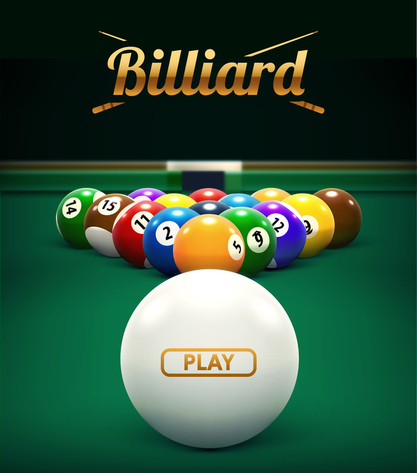 billiard play theme background vectors 03