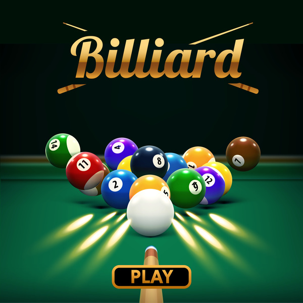billiard play theme background vectors 04