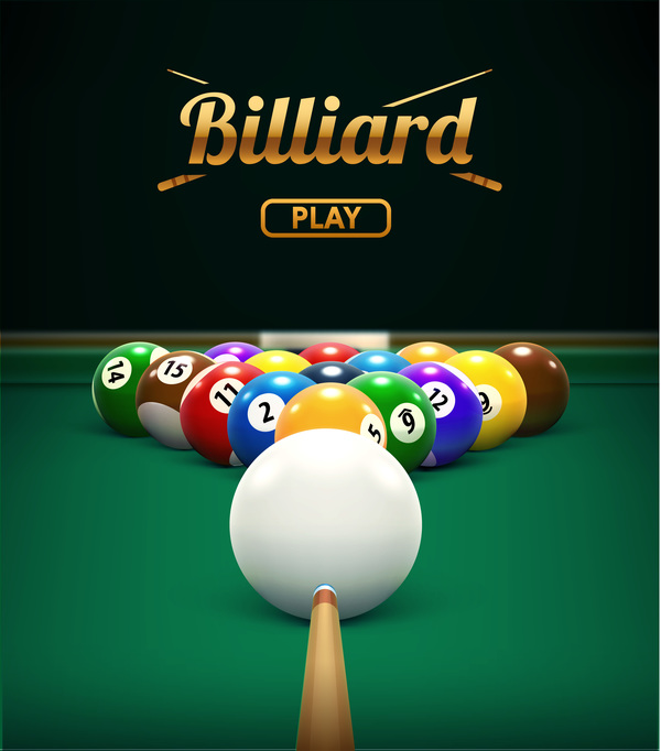 Billiard Table Front View Balls Sport Theme Free Download
