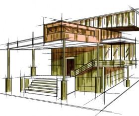 building draft blueprint sketch vector material 15
