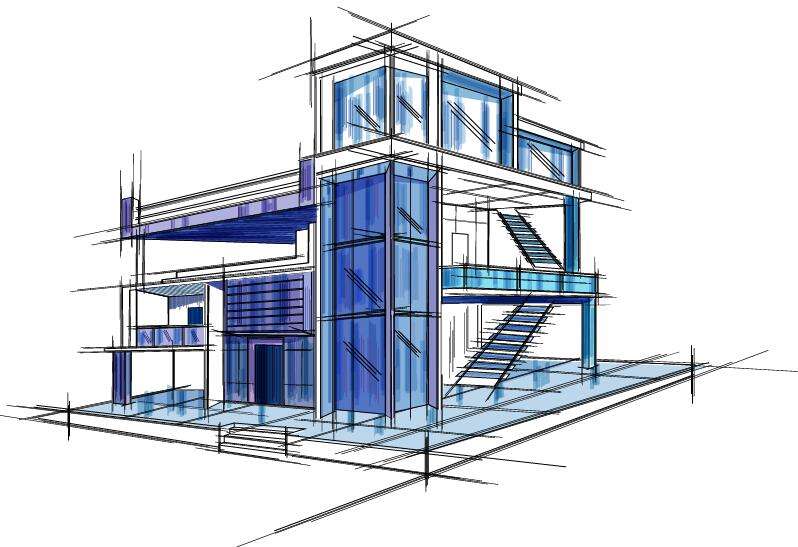 Architecture Sketch and Blueprint Photoshop Action free