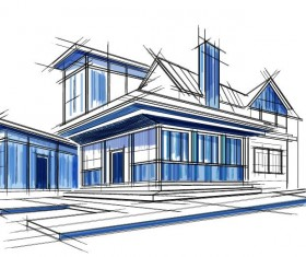 building draft blueprint sketch vector material 18
