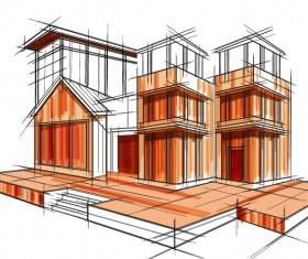 building draft blueprint sketch vector material 19