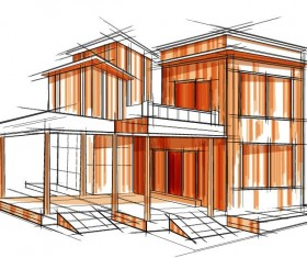building draft blueprint sketch vector material 20