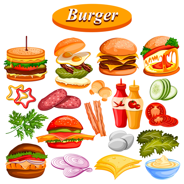 burger fast food vector material