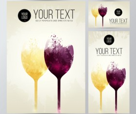 card wine glasses taste white red splash stains vector