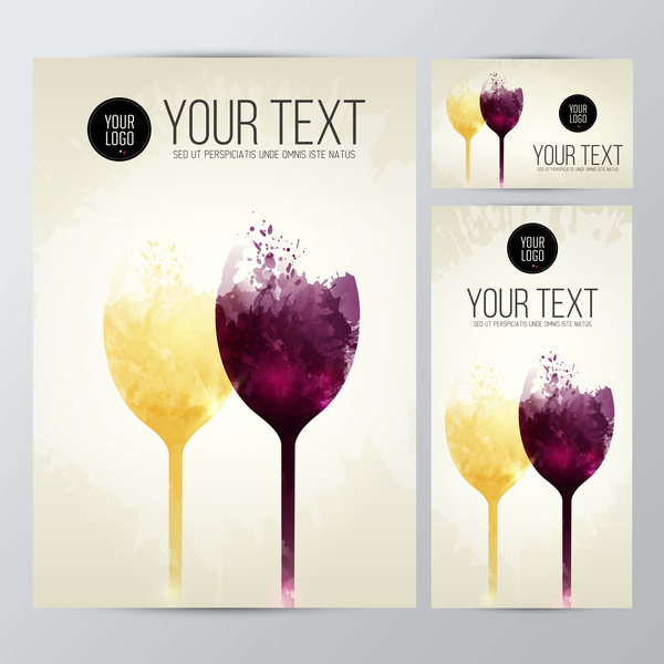 card wine glasses taste white red splash stains vector