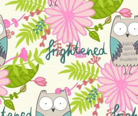 cartoon owls with flower pattern flower vector 01