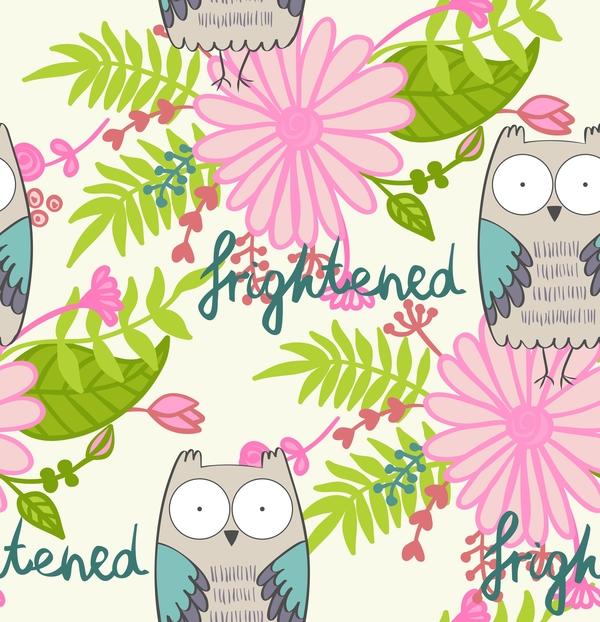 cartoon owls with flower pattern flower vector 01