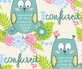 cartoon owls with flower pattern flower vector 02