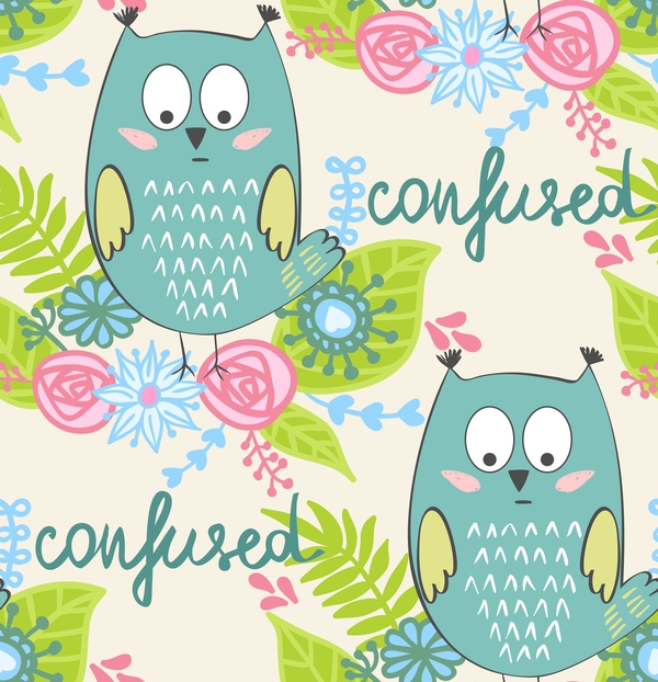 cartoon owls with flower pattern flower vector 02