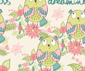 cartoon owls with flower pattern flower vector 03