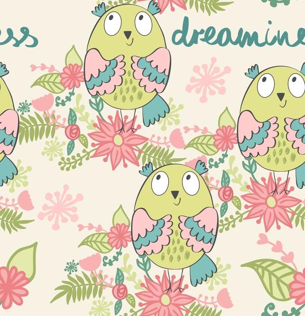cartoon owls with flower pattern flower vector 03