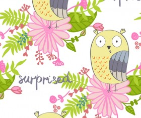 cartoon owls with flower pattern flower vector 04