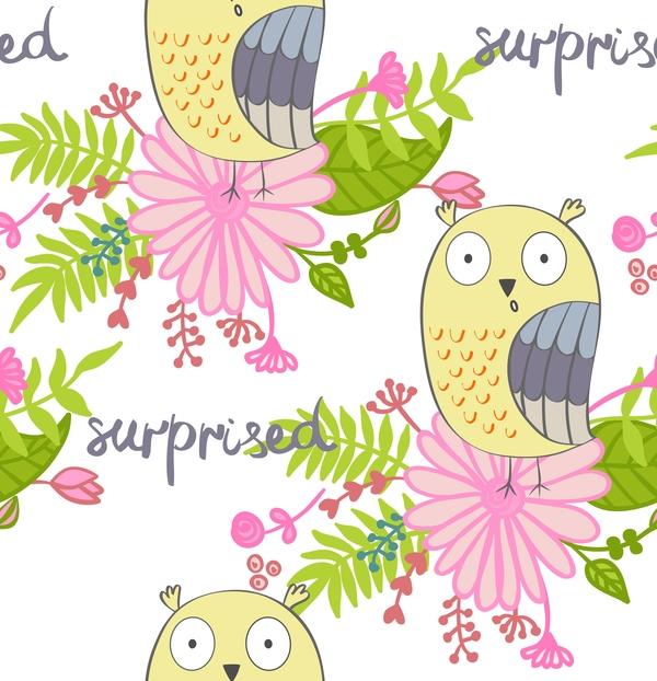 cartoon owls with flower pattern flower vector 04