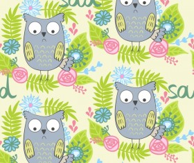 cartoon owls with flower pattern flower vector 05