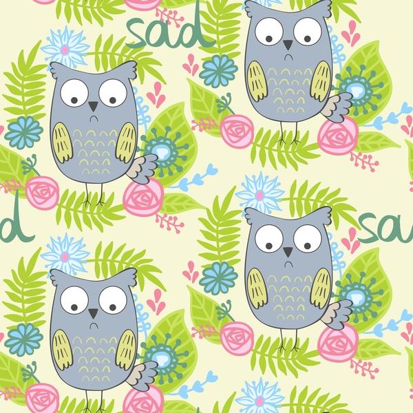 cartoon owls with flower pattern flower vector 05