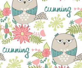 cartoon owls with flower pattern flower vector 06