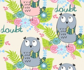 cartoon owls with flower pattern flower vector 07