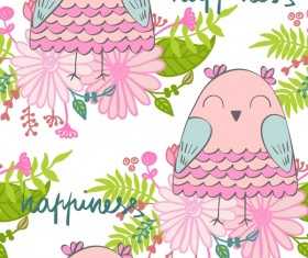 cartoon owls with flower pattern flower vector 08