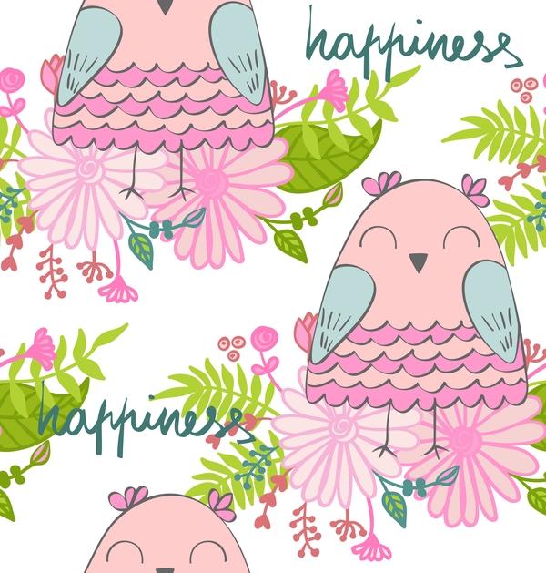 cartoon owls with flower pattern flower vector 08