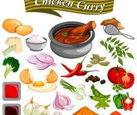 chicken curry vector