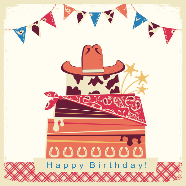 cowboy birthday card with cake and hat vector