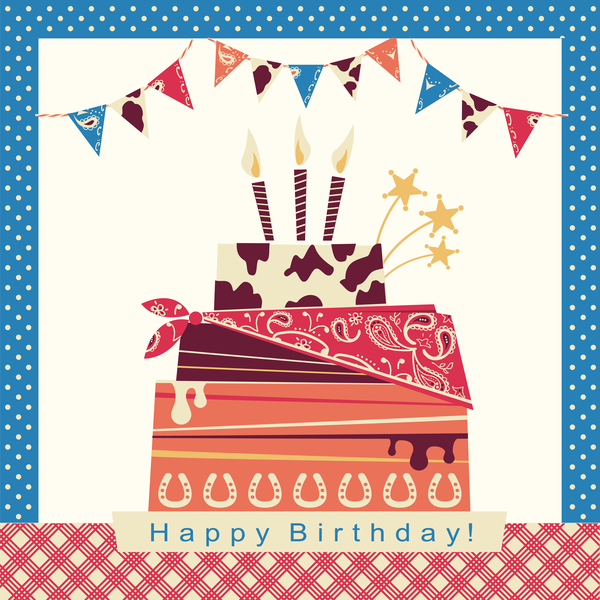 cowboy birthday card with cake on white vector
