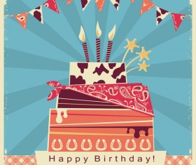 cowboy birthday card with cake vector