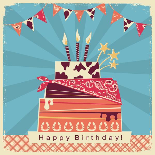cowboy birthday card with cake vector