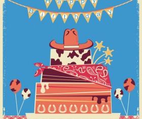 cowboy happy birthday background vector