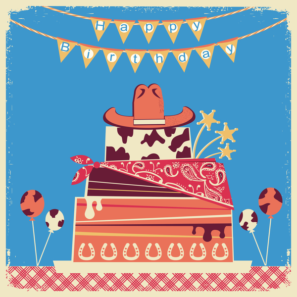 cowboy happy birthday background vector